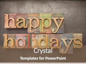 Presentation design featuring happy holidays - text in letterpress background and a violet colored foreground