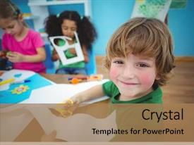 Colorful presentation design enhanced with happy kids doing arts backdrop and a coral colored foreground