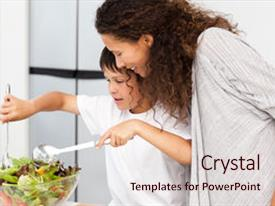 Cool new PPT theme with happy mother and son preparing backdrop and a lemonade colored foreground.