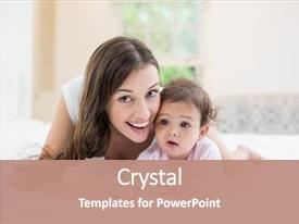 PPT layouts having happy mother with baby lying background and a coral colored foreground