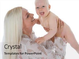 Presentation design having happy mother with baby over white background background and a light gray colored foreground.