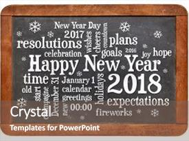 Cool new presentation theme with happy new year 2018 word cloud - white chalk text on a vintage slate blackboard isolated on white backdrop and a violet colored foreground.