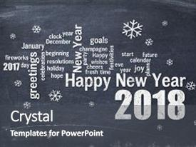 Slides enhanced with happy new year 2018 word background and a dark gray colored foreground.