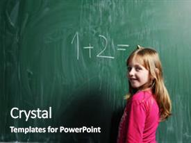 Beautiful slide deck featuring happy school girl on math backdrop and a dark gray colored foreground.