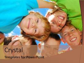 Audience pleasing PPT layouts consisting of happy sisters with brothers forming backdrop and a coral colored foreground.