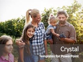 Colorful slide deck enhanced with happy winegrower family in vineyard backdrop and a dark gray colored foreground.