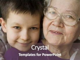 Cool new presentation with happy with grandma backdrop and a gray colored foreground.