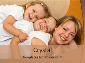 Cool new theme with happy woman and kids playing backdrop and a coral colored foreground.