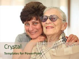 PPT layouts with happy woman with elderly mother background and a soft green colored foreground.