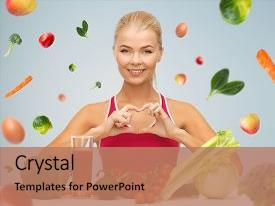 Amazing PPT theme having falling hearts - happy woman with organic food backdrop and a coral colored foreground.