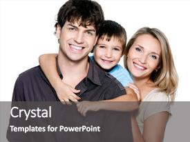 PPT theme having happy young family with pretty background and a dark gray colored foreground.