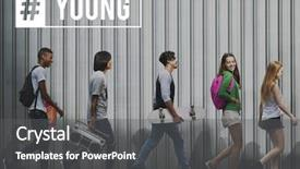 PPT theme having hashtag young attitude youth power background and a dark gray colored foreground