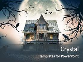 Horror powerpoint templates ppt themes with horror backgrounds presentation theme featuring haunted house with dark background and a dark gray colored toneelgroepblik Images