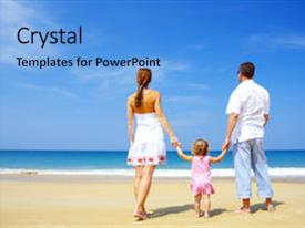 PPT theme enhanced with having fun on the beach background and a light blue colored foreground.