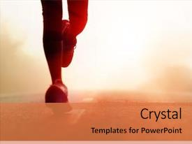 PPT theme featuring health - runner athlete feet running background and a coral colored foreground