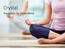 Theme featuring health - young people do yoga indoors background and a sky blue colored foreground