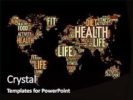 Amazing PPT theme having health and life world map backdrop and a  colored foreground.