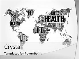 Slide set featuring health and life world map background and a  colored foreground.
