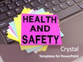 Presentation enhanced with health and safety writing text background and a coral colored foreground.