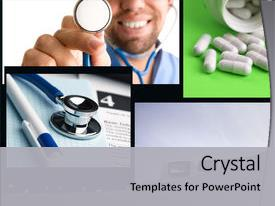 Presentation theme consisting of health concept - made from my images background and a light gray colored foreground.