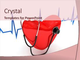 PPT theme enhanced with health concept - stethoscope over white 3d rendered background and a lemonade colored foreground.
