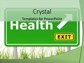 Presentation theme enhanced with health concept with road sign background and a mint green colored foreground.