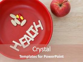 Colorful presentation theme enhanced with health concept with word health backdrop and a coral colored foreground.