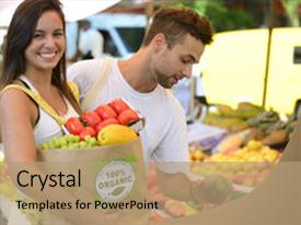 Slide deck having health fair - happy couple shopping fruits background and a coral colored foreground.