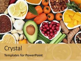 Colorful presentation theme enhanced with health food for fitness concept backdrop and a yellow colored foreground
