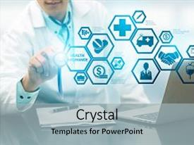 Presentation theme with health insurance concept - doctor background and a light gray colored foreground.