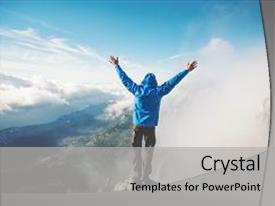 Amazing PPT theme having health - man traveler on mountain summit backdrop and a light gray colored foreground.