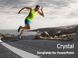 PPT layouts having twenty - health - running athlete man background and a dark gray colored foreground.