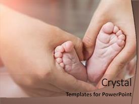 Presentation consisting of health - small newborn baby legs background and a coral colored foreground.