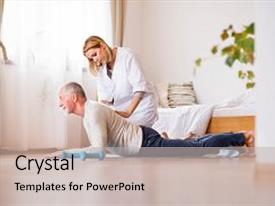 PPT theme with health visitor and a senior man during home visit a nurse or a physiotherapist helping a senior man exercise background and a light gray colored foreground