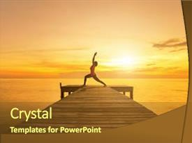Amazing slide deck having health - yoga pose - woman silhouette backdrop and a tawny brown colored foreground.