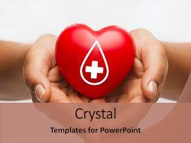 Presentation theme consisting of american red cross - healthcare medicine and blood donation background and a coral colored foreground.