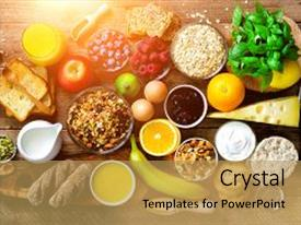 Slides having healthy breakfast ingredients food frame granola egg nuts fruits berries toast milk yogurt orange juice cheese banana apple on wooden rustic background top view copy space background and a  colored foreground.
