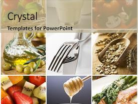 Beautiful PPT theme featuring healthy food collage made backdrop and a coral colored foreground.