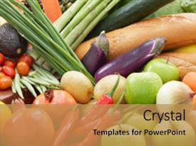 Cool new PPT layouts with healthy food - different kind of fresh vegetables backdrop and a gold colored foreground.