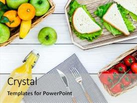 Cool new presentation design with healthy food for picnic sanwiches backdrop and a light gray colored foreground