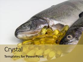 PPT theme consisting of healthy food - fresh rainbow trout and fish background and a yellow colored foreground.
