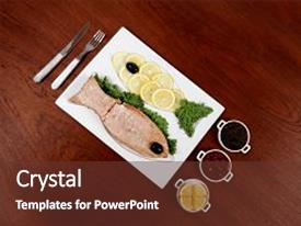 Beautiful PPT theme featuring healthy food fresh roast red fish salmon with kale lemon antipesto ketchup sauce on white plate over wooden table backdrop and a tawny brown colored foreground.