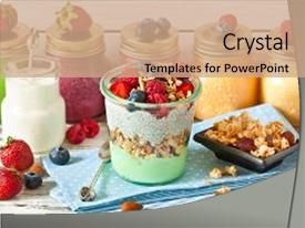 Beautiful slide deck featuring healthy food fresh smoothies glass backdrop and a coral colored foreground.