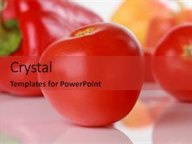 Slides enhanced with healthy food - tomatoes vegetables on the background background and a  colored foreground.