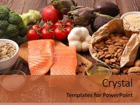 Presentation design featuring healthy food background and a red colored foreground