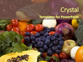 Slide deck having healthy organic vegetables and fruits background and a tawny brown colored foreground.
