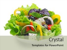 PPT theme with healthy salad background and a  colored foreground.