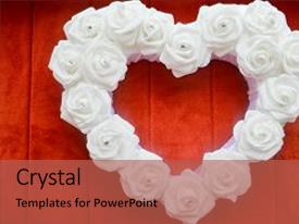 Cool new PPT theme with heart from white roses with rhinestones and diamonds on a red background heart of flowers on a background of red carpet backdrop and a red colored foreground.