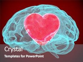 Beautiful PPT theme featuring heart inside brain smart love backdrop and a gray colored foreground.
