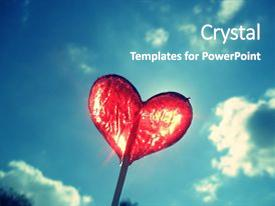 Presentation theme enhanced with confectionery - heart lollipop on blue sky background and a teal colored foreground